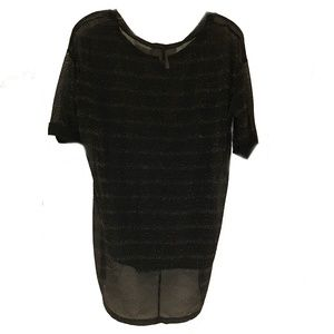 lola Black with gold shimmer sheer top.